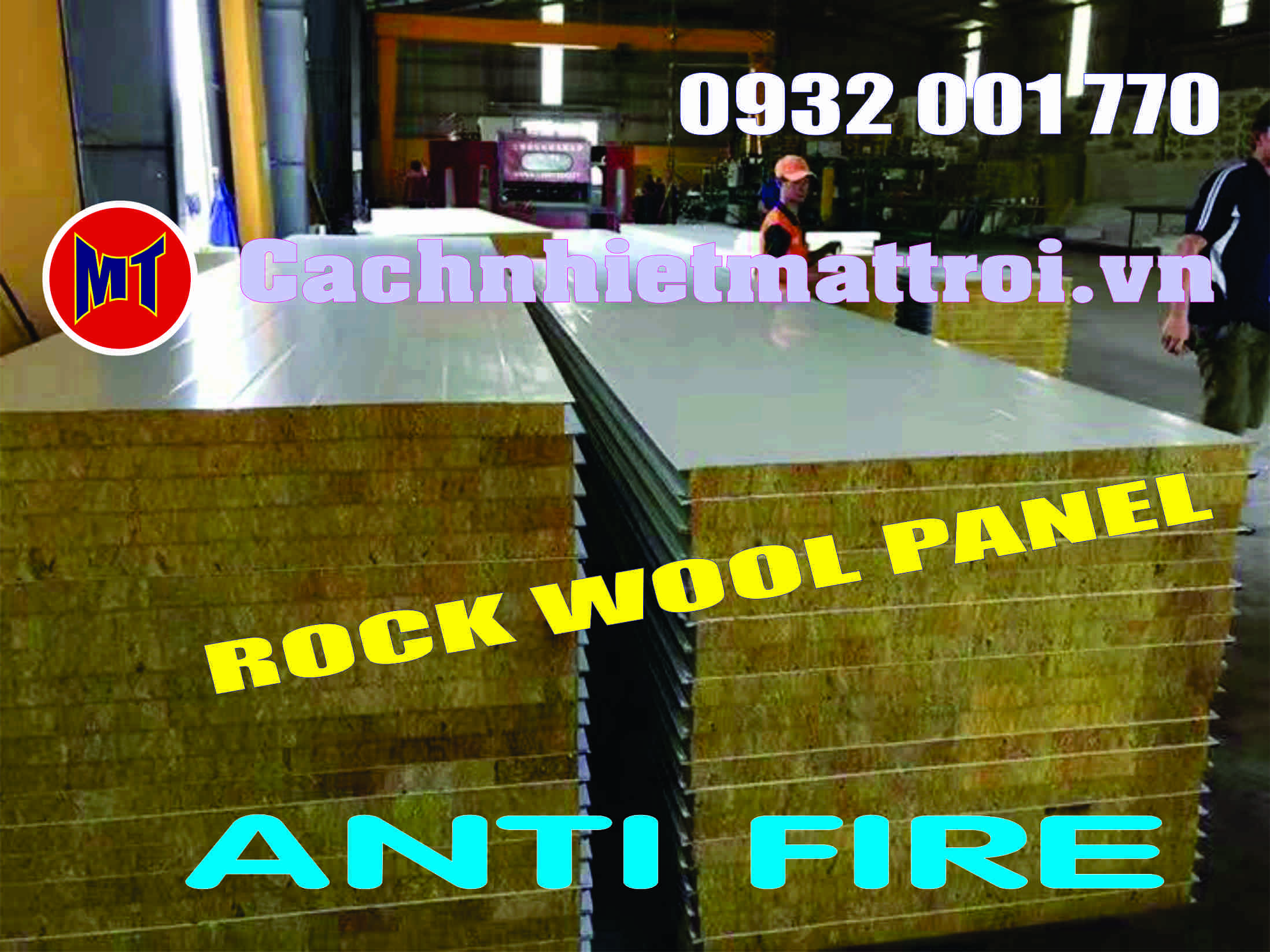 hình 1 Tấm cách nhiệt Panel 2 mặt tôn lõi bông Rockwool chống cháy
